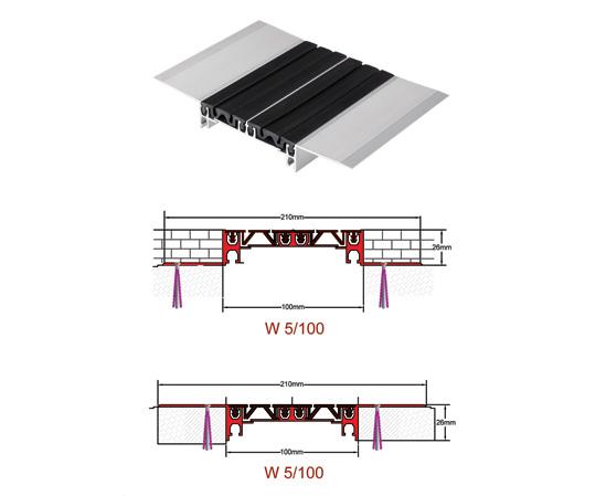 درز انبساط آلومینیومی لاستیکی 3 تکه 10سانتیمتری